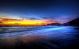 Картинка закат, пейзаж, облака, океан, сумерки, дымка, вечер