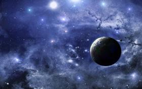 Обои планета, живопись, небо, спутники