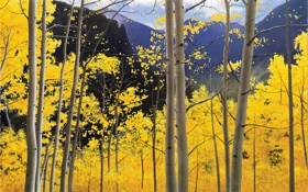 Картинка осень, небо, деревья, пейзаж, горы, листва, рисунок