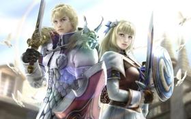 Картинка девушка, оружие, парень, щит, мечи, Fighting, бойцы