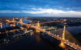 Картинка ночь, огни, река, дома, панорама, Таиланд, Бангкок