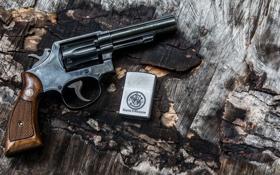 Картинка зажигалка, Smith & Wesson, револьвер, фон, ствол, рукоять, оружие