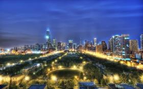 Обои ночь, Чикаго, Иллинойс, Chicago, Illinois, night, usa