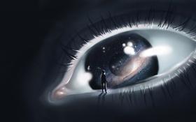 Картинка звезды, глаз, вселенная, человек