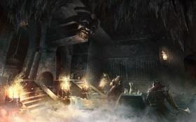 Картинка замок, войны, арт, храм, пещера, руины, битва