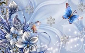 Обои цветок, коллаж, бабочка, снежинка