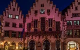 Картинка ночь, огни, улица, дома, Германия, Франкфурт-на-Майне, Рёмерберг