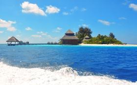 Обои море, небо, пальма, океан, остров, бунгало