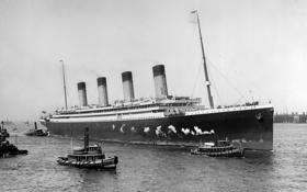 Картинка ретро, черно-белое, лайнер, прибытие, буксиры, Olimpic, в Нью-Йорк