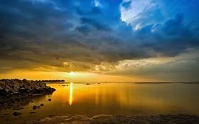 Обои пейзаж, закат, океан, Malaysia, Selangor, Sepang Gold Coast