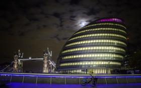 Картинка Лондон, Англия, ночь, мост, дом, огни