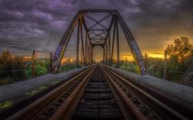 Обои пейзаж, закат, мост, железная дорога