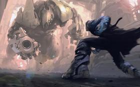 Картинка оружие, робот, бой, арт, мужчина, стойка, maxim revin