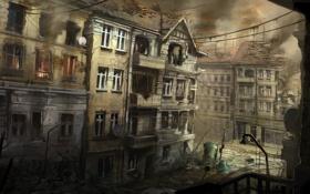 Картинка город, огонь, дым, арт, разруха, руины