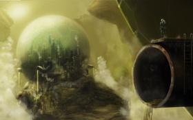 Обои трубы, город, скала, будущее, человек, шар, арт