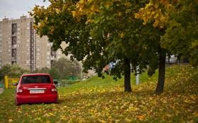 Обои машина, авто, дом, auto, LADA, Priora, ВАЗ