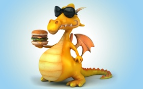 Обои дракон, dragon, funny, hamburger