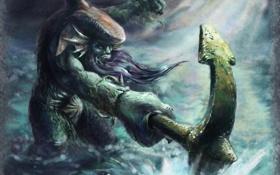 Обои арт, чудовище, art, дота, якорь, Dota Allstars, Левиафан