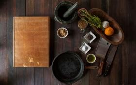 Картинка посуда, специи, ступка, нож, стол, сковорода