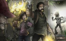Обои concept, арт, монстры, Элли, The Last of Us, Джоэл, Последние из нас