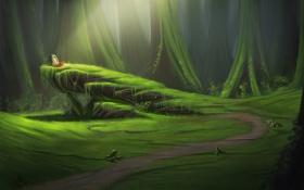 Обои лес, могила, тропинка, скала, солнечные лучи, деревья, арт