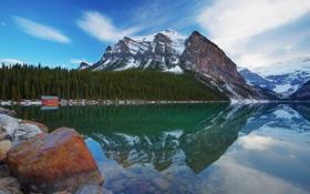 Картинка лес, горы, озеро, отражение, камни, Канада, Альберта