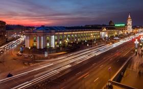 Картинка огни, улица, вечер, Питер, Санкт-Петербург, Россия, Russia