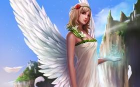 Картинка скалы, девушка, город, рука, ангел, арт, магия