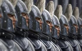 Обои снег, фокус, армия, доспехи, войны, арт, шлем