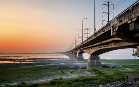 Обои пейзаж, закат, мост, река
