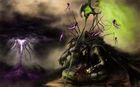 Обои цветок, тучи, смерть, молнии, монстр, дух, арт
