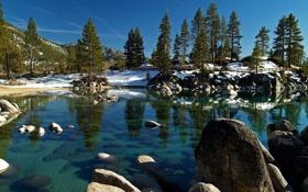 Картинка зима, снег, деревья, горы, озеро, камни, забор