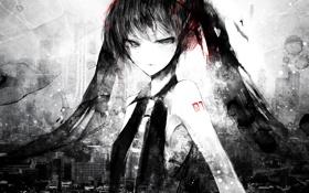 Картинка краски, черно-белая, vocaloid, Hatsune Mike