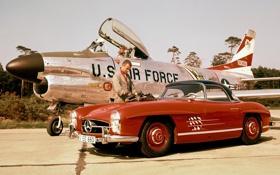 Картинка красный, Mercedes-Benz, истребитель, Мерседес, мужчина, спорткар, самолёт