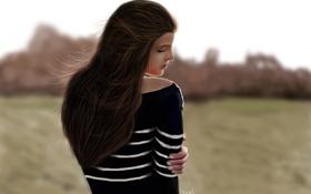 Обои девушка, полоски, ветер, волосы, фокус, арт, спиной