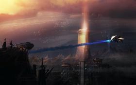 Картинка полет, горы, скалы, башня, корабли, станция, арт