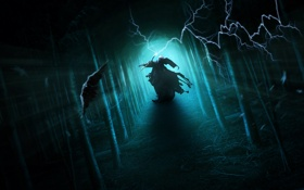 Обои лес, магия, молния, посох, плащ, ворон, колдун