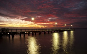 Обои ocean, clouds, Sunrise, Australia, Queensland, Wellingtonpoint