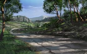 Картинка дорога, лес, деревья, скалы, арт