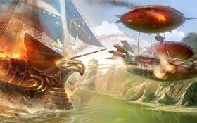 Картинка река, огонь, корабль, парусник, арт, нападение, TamplierPainter