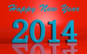 Обои отражение, праздник, надпись, цифры, новый год, 2014, счастливого нового года