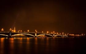 Обои ночь, мост, темно, Питер, огоньки, фонари, Санкт-Петербург
