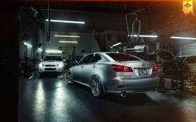 Обои Lexus, Subaru, Impreza, мастерская, rear, silvery, подъёмник