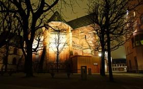 Обои деревья, ночь, огни, Швейцария, фонари, церковь, скамейки