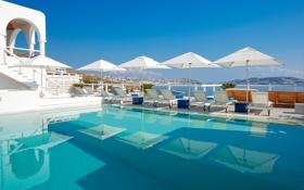 Обои вилла, бассейн, Греция, море