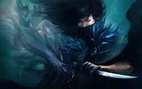 Картинка девушка, оружие, дух, перья, арт, нож, воротник