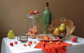 Картинка бутылка, банка, натюрморт, персики, груши, черешня, салфетка