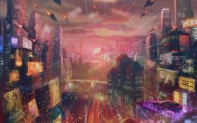 Обои город, будущее, река, транспорт, корабли, небоскребы, арт