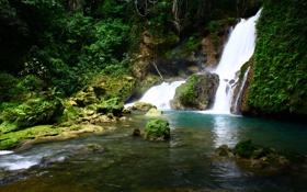 Обои водопад, река, ys jamaica, природа, фото