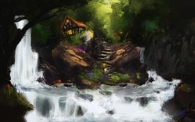 Картинка лес, вода, река, камни, скалы, водопад, рыба